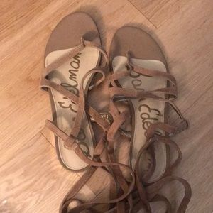 Same Edelman Lace Up Sandals- gold heel